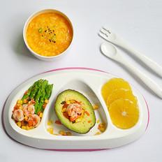 南瓜粥+牛油果芦笋虾仁(辅食)