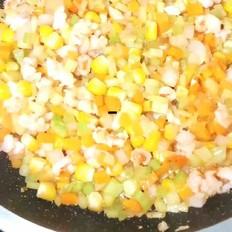 五彩蔬菜炒虾丁的做法