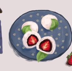 手绘食谱:草莓大福 趁春天伊始之际 多吃几个春果吧