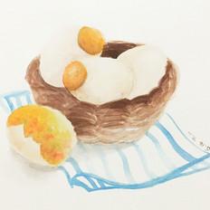 手绘食谱:黄金糯米蛋 把粽子放进鸭子蛋里