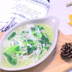 鸡汤面 宝宝营养辅食,鸡腿+小青菜+百叶丝