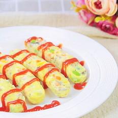 蔬菜蛋肠 宝宝辅食,口蘑+胡萝卜+黄椒+毛豆+鸡蛋+藕粉