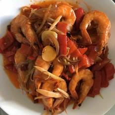 红椒炒海虾