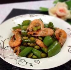 青椒炒河虾