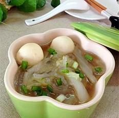 白菜粉丝鱼丸汤