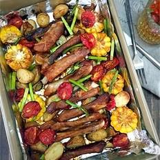 杂蔬烤排骨