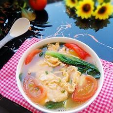 番茄小白菜鸡蛋汤