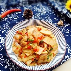 回锅肉炒杏鲍菇