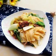 油菜腐竹炒肉