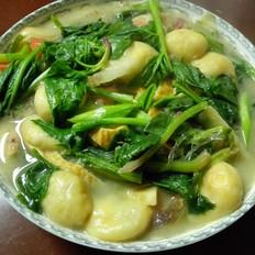 菠菜面筋粉丝汤