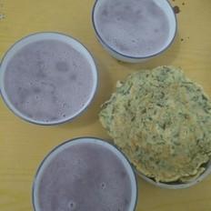 六元早餐-蔬菜饼和紫薯豆浆