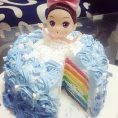 6寸彩虹心娃娃蛋糕