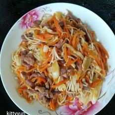 金针菇胡萝卜炒肉