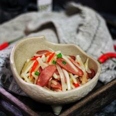 白萝卜炒牛肉肠