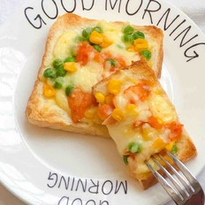 10分钟快手早餐-玉米青豆鸡肉芝士吐司片-快速消耗吐司片