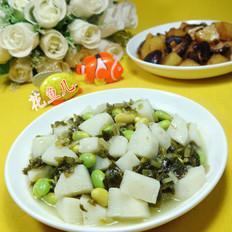 雪菜毛豆炒山药