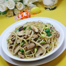 香葱香菇五花肉炒黄豆芽