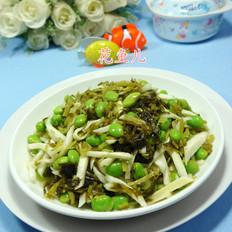 茭白雪菜炒毛豆
