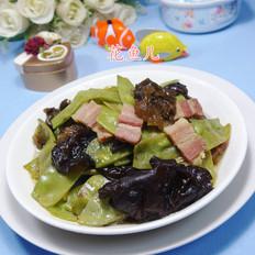 五花肉木耳炒扁豆