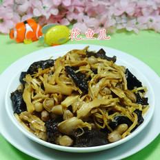 黑木耳花生米炒水笋