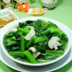 蘑菇炒油菜苔
