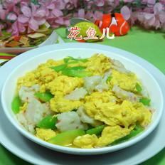 莴笋虾味球炒鸡蛋