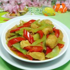 红椒油豆腐炒莴笋