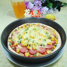 青豆玉米粒火腿肠披萨