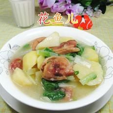 小白菜腊鸡腿煮土豆