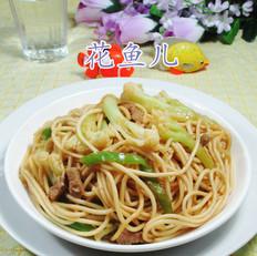 尖椒猪肉花菜炒面