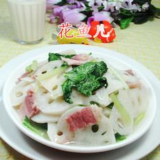 小白菜咸肉炒莲藕