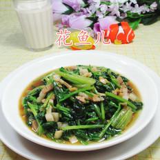 蒜香肉丝炒菠菜