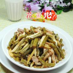肉丝茭白炒酸带豆