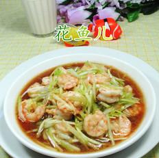 韭菜芽炒虾仁