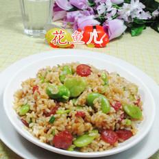香肠蚕豆炒饭