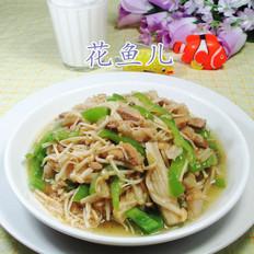 尖椒五花肉炒金针菇