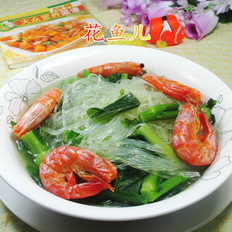虾干油菜蕻煮粉丝