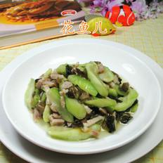 雪菜五花肉炒丝瓜