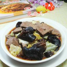 黑木耳圆白菜炒猪肝