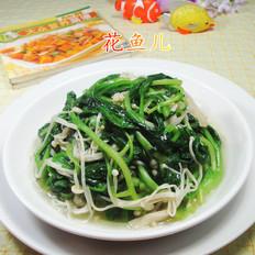 金针菇炒鸡毛菜