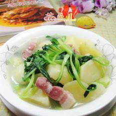 咸肉鸡毛菜煮土豆