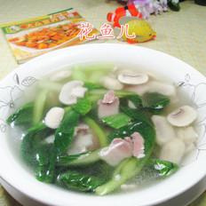 咸肉鸡毛菜蘑菇汤