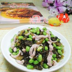 酸菜瘦肉丝炒毛豆