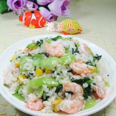 玉米粒青菜虾仁炒饭