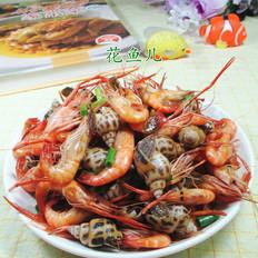 河虾炒花螺