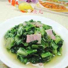咸肉炒油麦菜