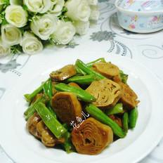 四季豆炒素香肠