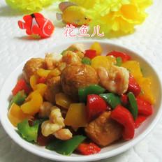 彩椒黄金鱼蛋虾仁