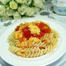 番茄炒鸡蛋盖浇螺丝面