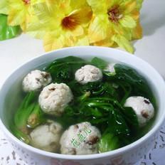 香菇鸡肉丸菠菜汤